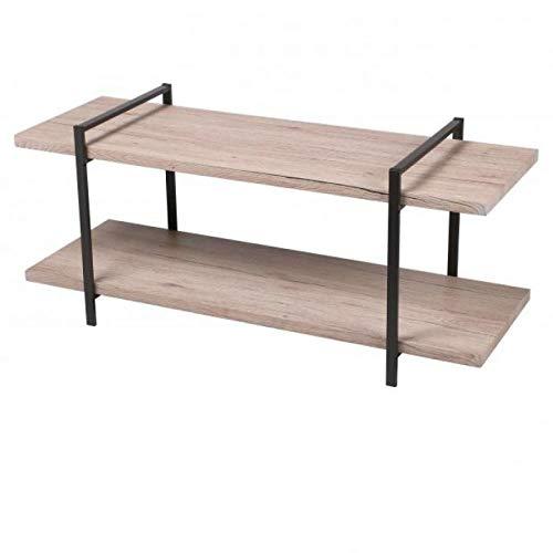 Urban Living TV meubel, TV kast met 2 planken, Industrieel design, modern, 120 x 40 x 55 cm Hout, metaal, tv tafel, 120cm, open vakken, woonkamer, licht bruin, salontafel, bijzettafel