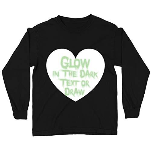 lepni.me Camiseta para Niños Neón Interactivo Ropa para Fiesta de Cumpleaños de San Valentín Que Brilla en la Oscuridad, Dibujada con Led (3-4 Years Negro Glow in The Dark)