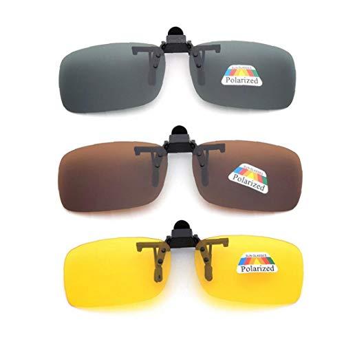 xiaocheng 3 PCS Unisex UV400 polarisierte Linse Rahmenlose Rechteck Objektiv Flip Up-Clip auf Prescription Sonnenbrillen Brillen Night Vision Glasses Nette Kostüme