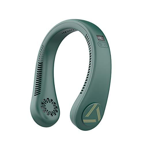 Ventilador de cuello manos libres, ventilador portátil sin hoja, ventilador de cuello perezoso para oficina, hogar, viajes (verde)