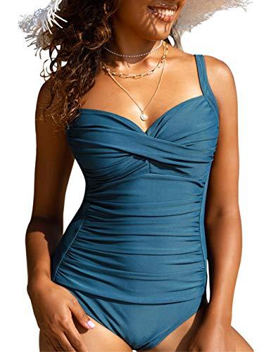 Hilor Women's One Piece Swimsuits Front Twist Bathing Suits Tummy Control Swimwear Retro Inspired Monokini Aquamarine Blue 14