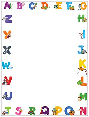 Alphabet Border Stationery - 8.5 x 11-60 Letterhead Sheets - Border Letterhead (Letters)