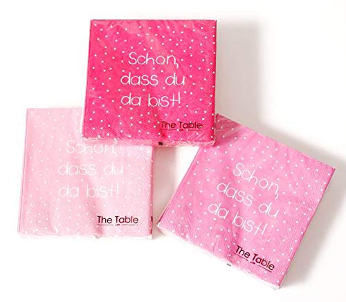 Boltze Home Collections Servietten (3er Set / 60 Stück) 3-lagig 33 x 33cm (You pink/rosa)