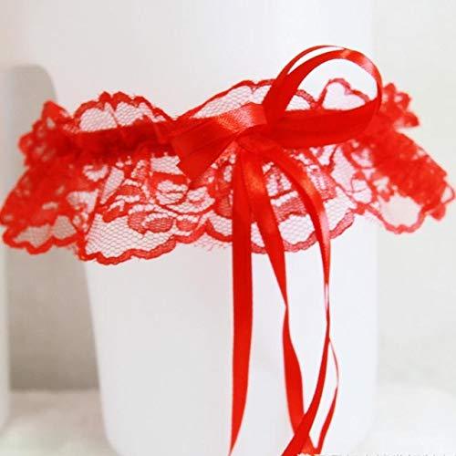 Piner Zwart Wit Rood Roze Kant Bruids been Kousenband Riem set legging linten band met strass voor dameslingerie, Rood