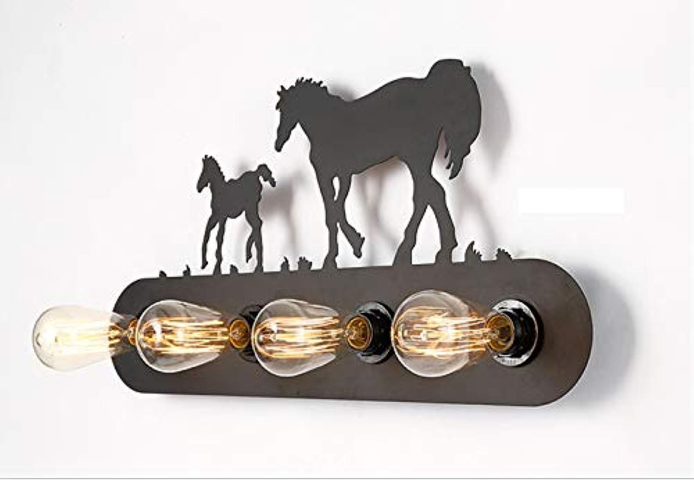 HWSUS Vintage Mustang Wandleuchte Eisen Kunst Dekoration Schwarz Tier Zwei Pferde Eisen Krper Licht Feine Arbeit Schne Kreative Persnlichkeit Gre 60  30,5 cm