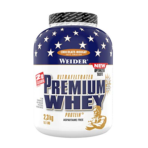 Weider Premium Whey Protein Powder, Chocolate Nougat, 33g of Protein Per Serving, Low Carb, Whey Protein Isolate, Rich in BCAA's, 2,3kg