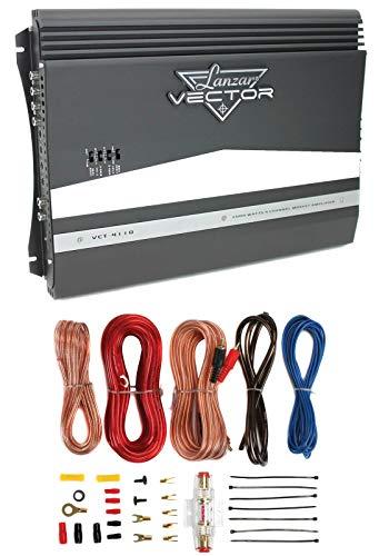 Lanzar VCT4110 2000W 4-Channel Car Audio Amplifier Amp + 8 Gauge Amp Kit