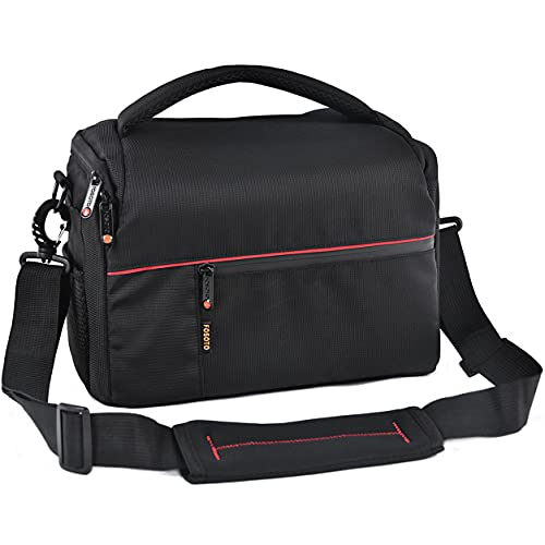 FOSOTO DSLR Camera Shoulder Bag Case Compatible for Canon EOS Rebel T7 T6 T8i SL3 T100 2000D 4000D 60D 80D 750D 90D 5D Nikon D780 D750 D610 D5600 D5300 D7500 D3500 Pentax with Waterproof Rain Cover