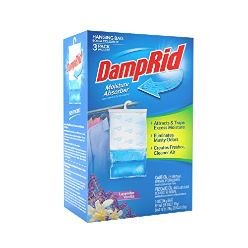 DampRid Lavender Vanilla Hanging Moisture Absorber, 3 Pack, for Fresher, Cleaner Air in Closets