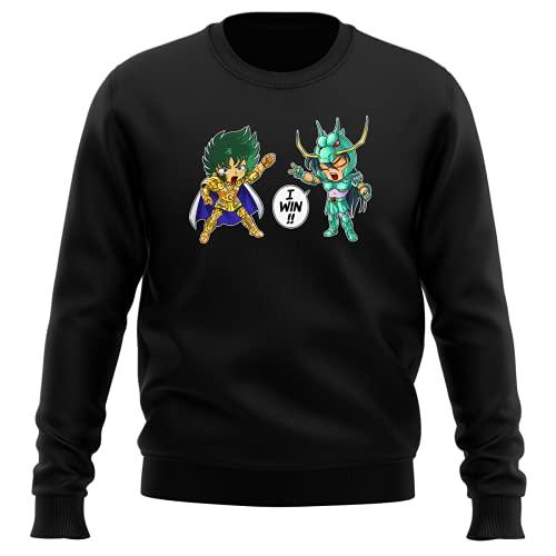 Okiwoki Pull Noir Parodie Saint Seiya - Shiryu du Dragon et Shura Le Chevalier d'or du Capricorne - Traduction (Sweatshirt de qualité Premium de Taille M - imprimé en France)