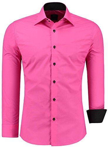 Jeel Herren-Hemd Langarm - Slim-Fit - Business Freizeit Hochzeit - Bügelleicht - Pink L