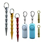 CUPDKS Personal Security Safety Alarm Combination,1 Pack with 2-130DB Birdie Personal Safety Alarm Keychain & 2 Distress Whistle & 3 Anti-Wolf Tactical Pen for Women,Girl,Children,Kid,Elderly