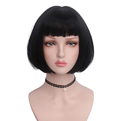 STfantasy Parrucca Donna corta nera Bob Naturale Sintetici parrucche con frangia Quotidiano Fancy Dress Anime carnevale Halloween Party