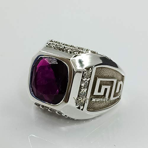 Natural Amethyst Ring 92.5 Sterling Silver Ring, Natural Amethyst Gemstone Ring, February Birthstone Ring, Amethyst Wedding&Engagement Ring, Mens Ring, Gift Jewelry Ring For Him
