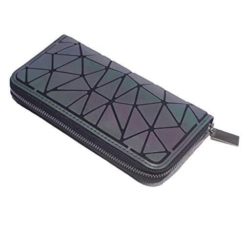 Geometrische Lange Brieftasche und Geldbörse - Mode Leuchtend Gitter Postleitzahl Geldbörse Brieftaschen für Damen NO.2