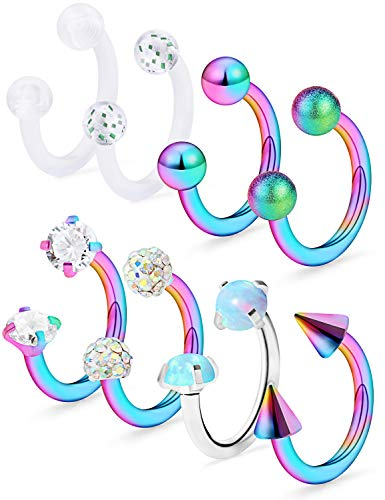 Dyknasz Horseshoe Circular Barbell Clear CZ Opal Stone Nose Septum Rings Hoop Retainer for Women Men Helix Cartilage Tragus Earring 316L Surgical Steel 16G 5/16'(8mm) Rainbow
