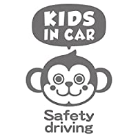 imoninn KIDS in car ステッカー 【パッケージ版】 No.68 サルさん (シルバーメタリック)