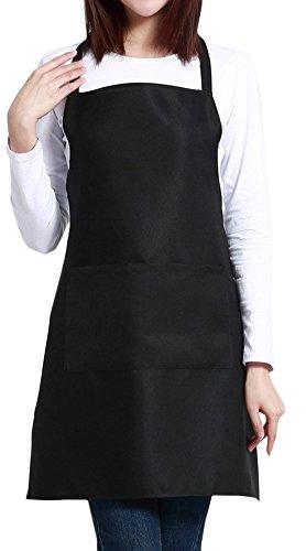 ALLICERE Unisex Black Professional Plus Size Bib Apron Home Kitchen Garden Restaurant Coffee Shop Bar Pub Bakery Aprons