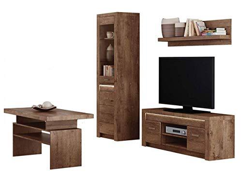 KRYSPOL Wohnzimmer Set B Indiana Wandregal, Couchtisch, Vitrine, TV Lowboard, Farbasuwahl, Modern Design (Esche Hell, ohne Beleuchtung)