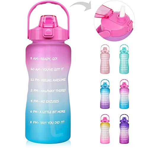 Mosako - Botella de agua de motivación con horodataje y pajita impermeable y sin BPA para gimnasios y deportes al aire libre 2L (degradado rosa)