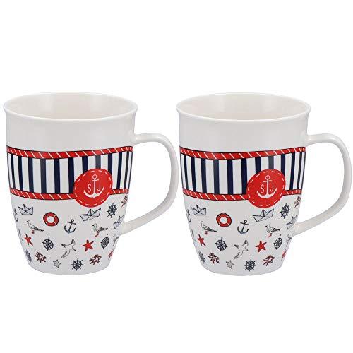 Tony Brown - Jumbo Kaffeetasse mit Henkel Maritim | 520ml | weiß | Porzellan | Maritimes Muster (Design 3 2er Set)