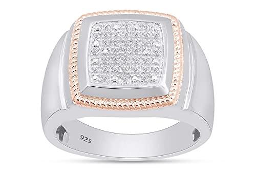 AFFY Anillo de aniversario de diamante natural blanco de corte redondo de 1/10 quilates para hombre en oro de 18 quilates sobre plata de ley (claridad: I2-I3, color: J-K, 0,1 quilates), Diamond,