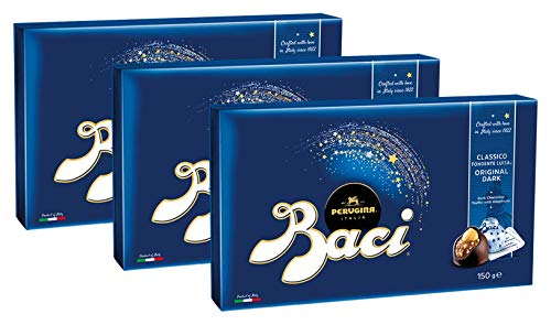 BACI Pralinenschachtel, 12 Pralinen mit dunkler Schokolade und Haselnussfüllung, 3er Pack (3 x 150g)