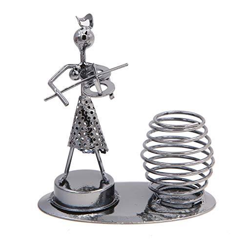 Creative Iron Art Metal Nuts Steel Music Girl Elegant Cantor in Dress Figure Performer Pen Holder Pencil Holder Office School Desktop Decoration Gift Ornaments (A0723 Violin)