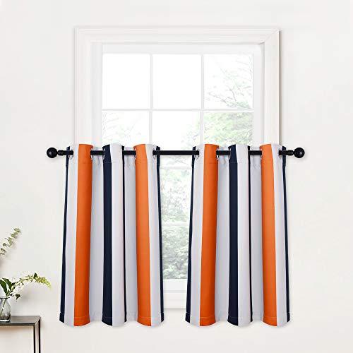 RYB HOME Kicthen Window Curtains - Half Window Tier Curtains Color Pop Light Block Room Darkening Drapes for Kids Bedroom Dining Bedroom, Navy Blue & Orange, Wide 42 x Long 36 inch, 2 Panels