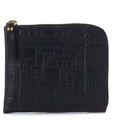 Bustina Wallet Comme Des Garçons in pelle nera stampata
