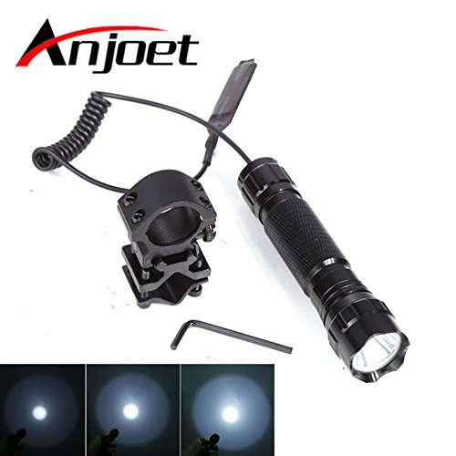 Lampe torche LED 5 modes T6 : 2000 lm XML-T6 LED lampe de poche 1/5 mode lampe lanterna lampe 18650 + interrupteur à distance + support pistolet pour camping chasse
