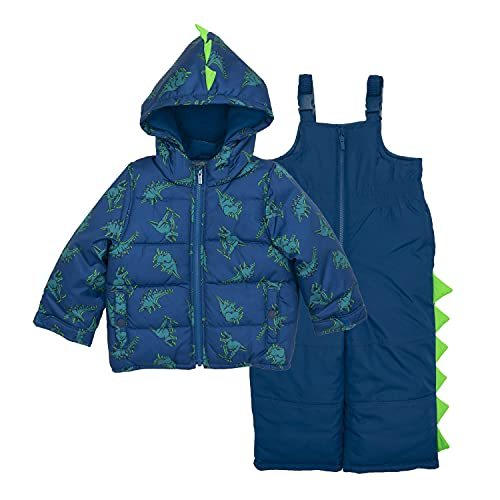 Carter's Baby Boys' Character Snowsuit, Navy Neon Green Dino, 18MO