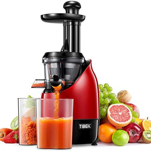 TIBEK Licuadora Prensado Frío, Licuadoras Para Verduras y Frutas, extractor de zumos con Función inversa, Slow Juicer Motor Silencioso, Libre de BPA