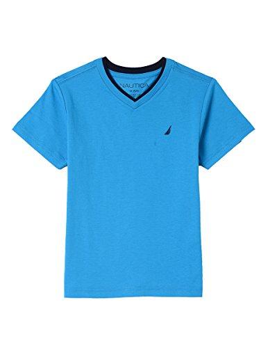 Nautica Boys' Little Short Sleeve Solid V-Neck T-Shirt, Jordan Blue Danube, 7