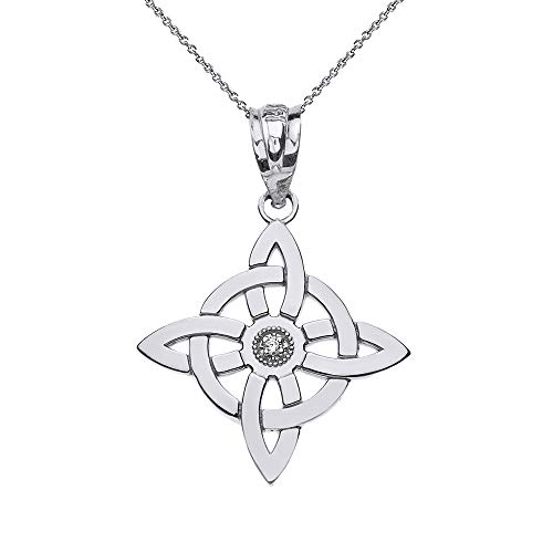 """Sterling Silver Witch's Knot Pagan Wiccan Symbol CZ Pendant Necklace, 18"""""""