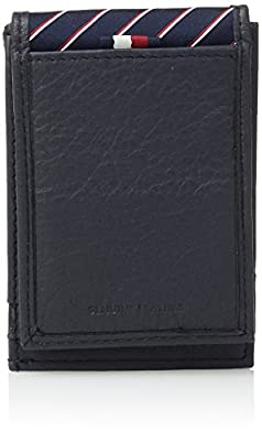 Tommy Hilfiger Men's RFID Leather Front Pocket Wallet With Magnetic Money Clip -navy, 1Siz