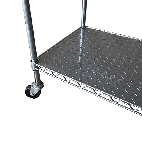 Resilia Shelf Liner Set for Wire Shelving Units – 5 Pack, 14 Inches x 36 Inches, Silver Diamond Pattern, Anti-Slip, Heavy Duty, Made in The USA