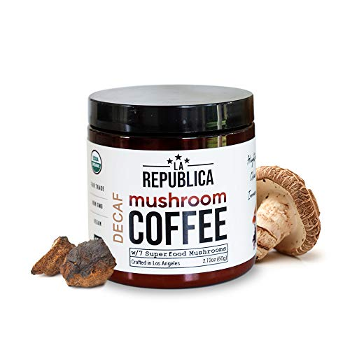La Republica Decaffeinated Organic Mushroom Coffee (Instant Mix w/ Chaga, Lion's Mane, Reishi, Cordyceps - Keto Paleo Fair-Trade Vegan Gluten-Free) Decaf