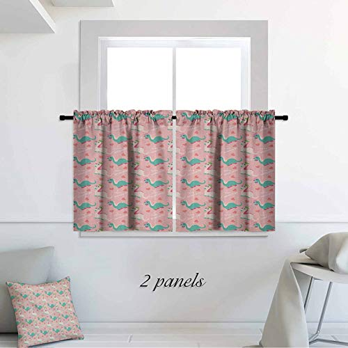 Nursery Kids Decor Home Decoration Cute I Love Dinosaurs Quote with Prehistoric Animal in Cartoon Style Hearts Pattern 30 x 36 inch Window Treatments for Nursery Bedroom 2 Panels