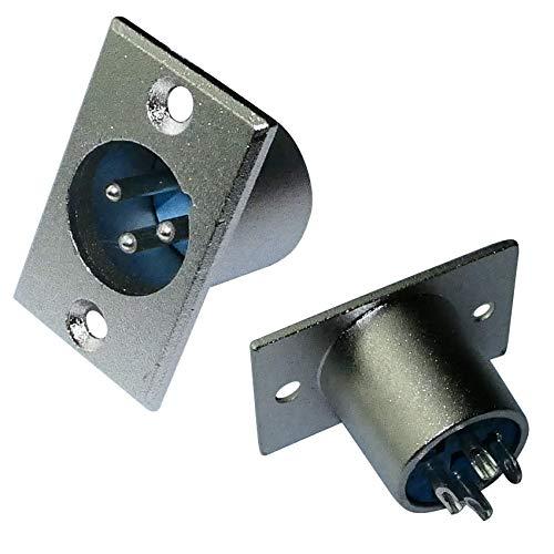 AERZETIX - Lot de 2 Prises Chassis XLR mâle 3 Broches pins connecteur fiche