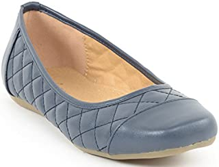 ESTATOS Synthetic Leather Quilted Flat Comfortable Bluish Grey bellerina/Shoes