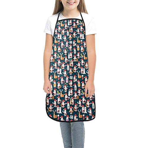 Christmas with Santa Claus Reindeer Bear and Gifts Children's Apron with Pockets, Adjustable Neck Strap For Cooking Panting Baking