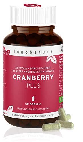 Natürliche Cranberry Plus Kapseln. Hochdosierter Komplex aus Cranberry, Acerola (Vitamin C), Bärentraubenblätter, Kürbiskern + Ingwer. Vegan + zertifiziert tiergeschützt hergestellt in DE, 60 Kapseln