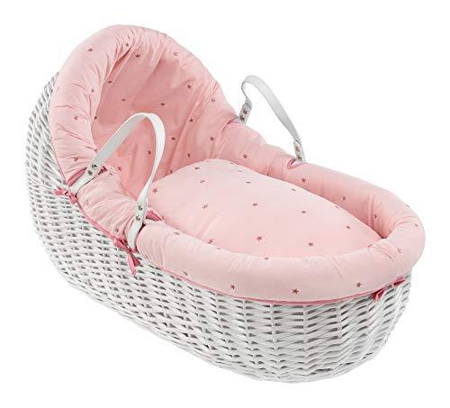 Lullaby Stars White Willow Bassinet®, Blush Pink