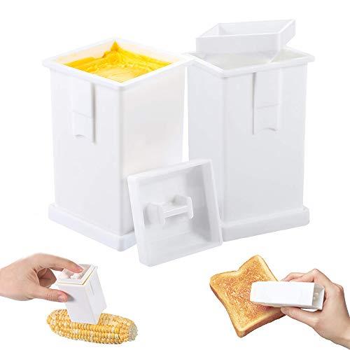 TIPO Dispensador de Mantequilla, esparcidor de Mantequilla de plástico de 2 Piezas, Soporte para Mantequilla de mazorca de maíz Apto para lavavajillas Que extiende la uniformemente en Tostadas