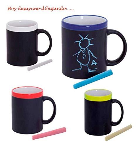Taza Pizarra de cerámica con Tiza a Tono. Lote de 20 Tazas Colores Variados, Ideal para Que los niños se diviertan desayunando. Regalos cumpleaños, Detalles Infantiles para Eventos.