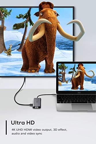 YXwin USB C Hub, 6 in 1 Type C USB C Adapter mit 4K HDMI 1000M Gigabit Ethernet RJ45, Typ C Stromversorgung, 3 USB 3.0 Anschlüsse für MacBook Pro/Air, Samsung S9 S10, Huawei und Anderen USB C Geräte