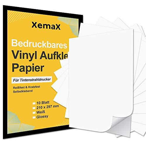 Xemax 10 hojas de papel adhesivo de vinilo imprimible, 210 x 297 mm papel de vinilo adhesivo impermeable, papel autoadhesivo de formato A4 blanco brillante para impresora de inyección de tinta
