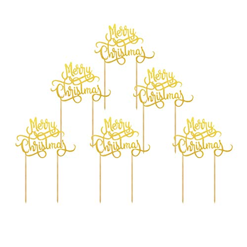 Creaides 10 Pcs Merry Christmas Cake Toppers Xmas Cake Decoration for Merry Christmas Party Favors