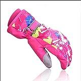 Kinderhandschuhe, Winter Mädchen Outdoor-Ski Fahren, Finger-Finger-Handschuhe, voll wasserdicht, atmungsaktiv rosa